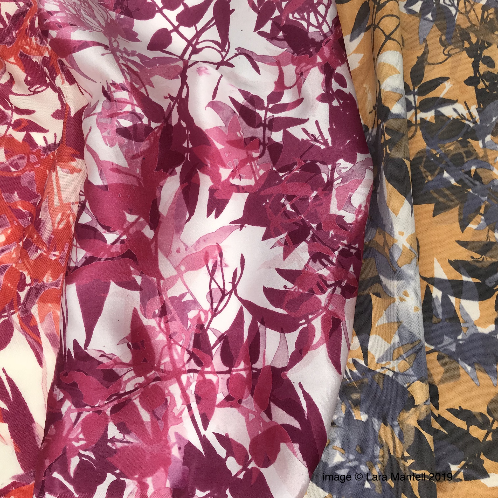 Screen printed textiles designed by Lara Mantell. Hand printed using foraged and natural dye extracts.