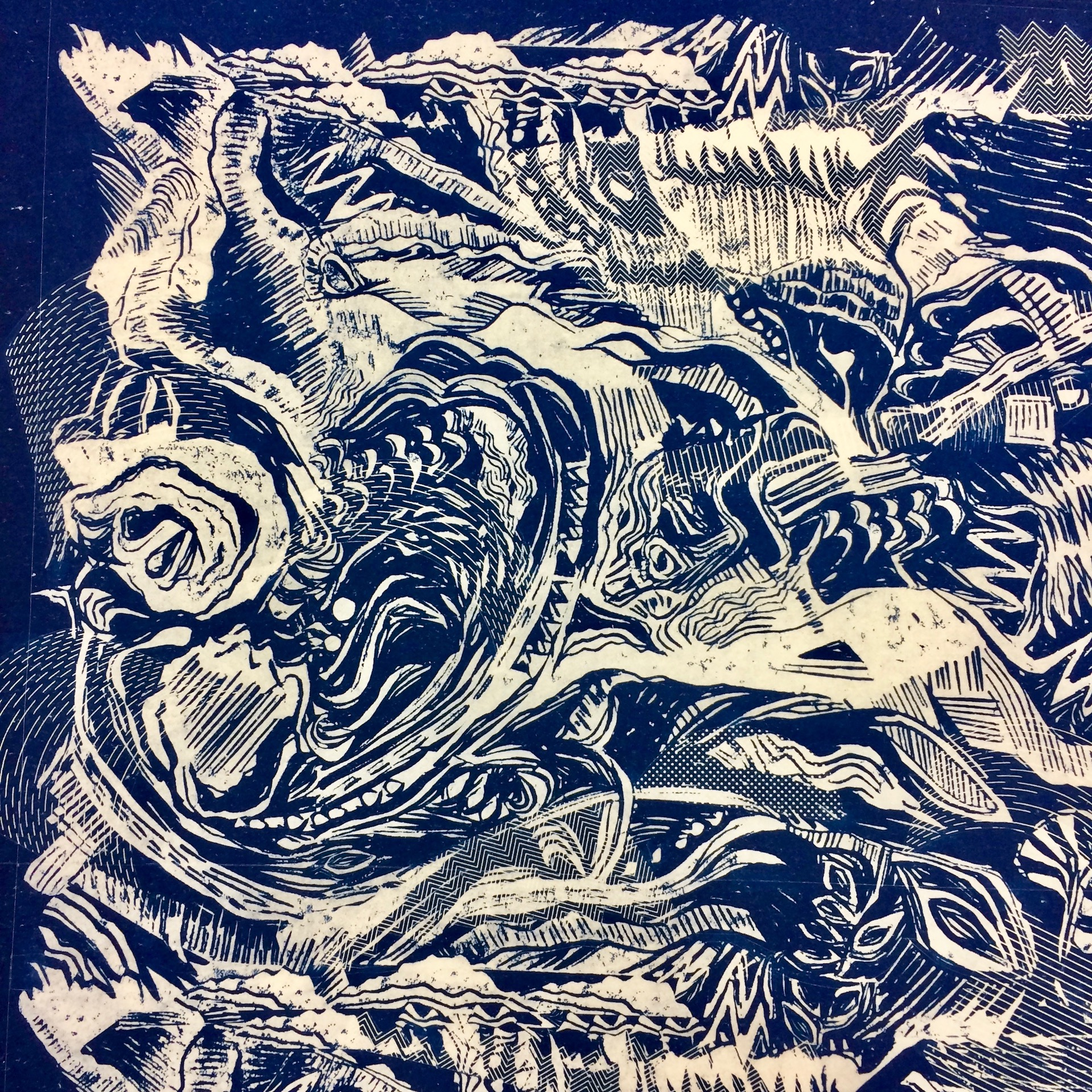Cyanotype design and print by Lara Mantell
